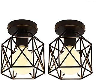 SNOWINSPRING 2 Piezas Lámpara de Techo Jaula Cuadrada Industrial de Hierro de Metal Ara?a Retro Suspensión Lámpara para Pasillo, Entrada, Camino de Entrada, Dormitorio