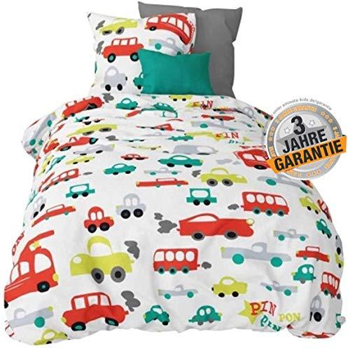 Aminata Kids süße Biber-Bettwäsche-Set Auto-Motiv 135x200 cm + 80 x 80 cm, Jungen, Feuerwehr-Auto, Baumwolle mit Reißverschluss, Kinder-Bettwäsche, ist kuschelig & warm, bunt, weiß Flanell - Polizei