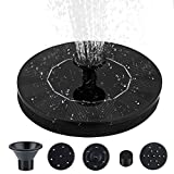 Solar Powered Fountain Pump, Black Solar Fountain with 5 Nozzle and Free Standing Submersible Solar Bird Bath Fountain Kit, Solar Fountain Pump for Bird Bath, Garden Decoration, Fish Tank, Outdoor