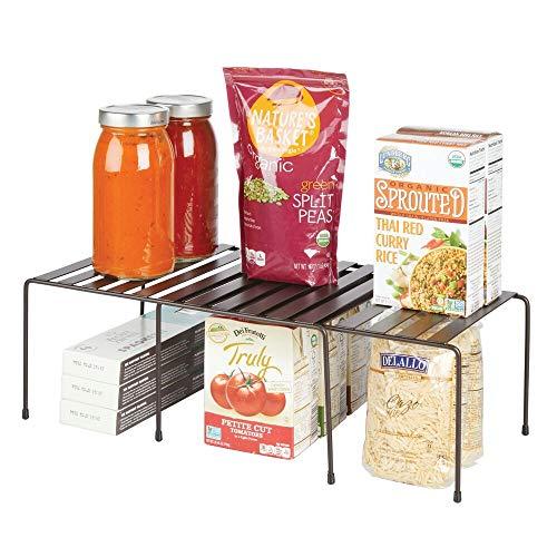mDesign Juego de 2 repisas ajustables para armarios de cocina – Práctica balda extensible de metal para ampliar el espacio de guardado – Estante para platos antideslizante – color bronce