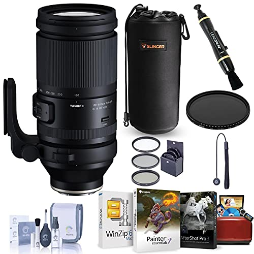 Tamron 150-500mm f/5-6.7 Di III VC VXD Lens for Sony E - Bundle with Corel Photo Mac Software Suite, Filter Kit, Lens Pouch, Cleaning Kit, Lens Cleaner, Lens Cap Tether