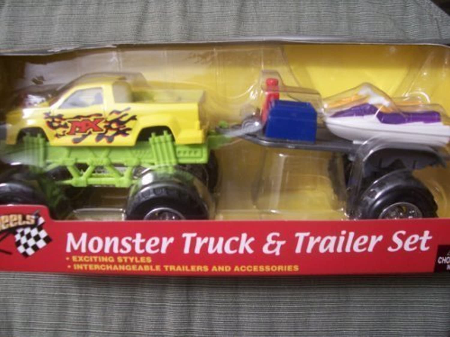Speed Wheels Monster Truck & Trailer Set (Gelb MX Truck with Gelb & lila Personal Water Craft) by Speed Wheels