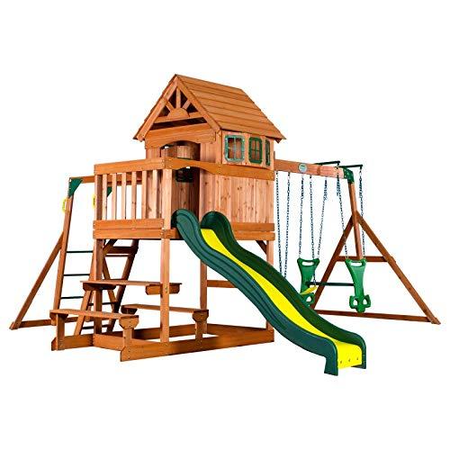 Beauty.Scouts Spielturm Major Holz in braun mit vielen Spielmöglichkeiten 470x490x280cm Kinderspielhaus mit Rutsche Kletterwand Schaukel Baumhaus Kletterturm