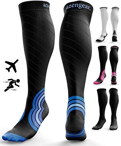 Calcetines de Compresión para Hombres y Mujeres - Medias de Compresion para Deporte - Maratones - Enfermeras - Estrés tibial Interior - Durante Embarazo (L/XL (42-47), Negro/Azul Marino)