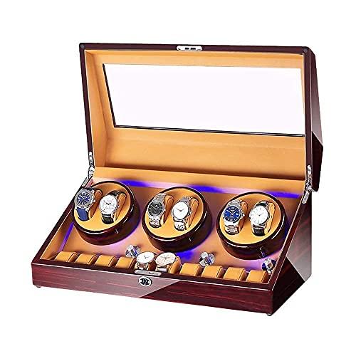 CDPC Caja de joyería para mujer automática reloj devanadera caja 6+10 caja de almacenamiento de reloj Piano pintura acabado iluminación integrada para hombre mujer relojes de gama alta/C