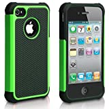 iPhone 4S Case, iPhone 4 Case, CHTech Fashion Shockproof Durable Hybrid Dual Layer Armor Defender Protective Case Cover for Apple iPhone 4/4S (Green)