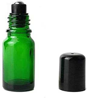 6PCS 30ml Empty Portable Green Glass Roll on Bottles With Stainless Steel Ball and Black Cap For Perfume Essential Oil Roller Bottles Vial Container Pot Jar Attar Bottle