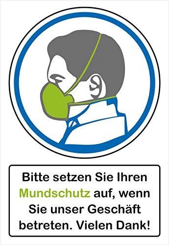 Stickers - Stel je mondbescherming op als je onze winkel betreedt. - zelfklevende folie, weerbestendig, 200 x 290 mm