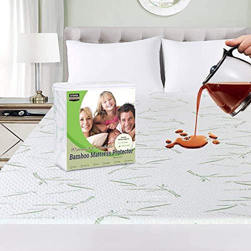 Utopia Bedding Premium 340 gsm 100% Impermeabile coprimaterasso in bambù, coprimaterasso, Traspirante, Stile Aderente Elastico tutt'intorno (160 x 200 cm)