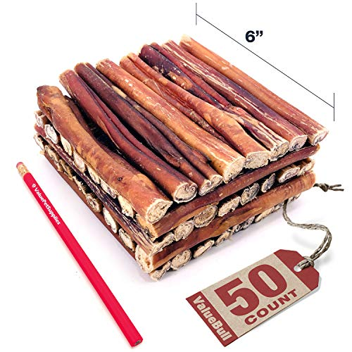 ValueBull Bully Sticks for Dogs, Thick 6 Inch, 50 Count - All Natural Dog Treats, 100% Beef Pizzle, Single Ingredient Rawhide Alternative