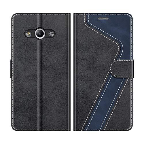 MOBESV Handyhülle für Samsung Galaxy Xcover 3 Hülle Leder, Samsung Galaxy Xcover 3 Klapphülle Handytasche Hülle für Samsung Galaxy Xcover 3 Handy Hüllen, Modisch Schwarz