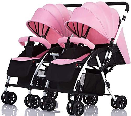 BESTPRVA Cochecito de bebé recién nacido infantil del carro gemelo del cochecito de bebé reversible de la manija desmontable infantil carro puede sentarse y acostarse ligero plegable doble de la carre