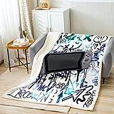 Gaming Gamer - Manta de forro polar, diseño de graffiti para adultos y jóvenes, color gris, manta de poliéster ligera para sofá, tamaño King (87 x 94 pulgadas)