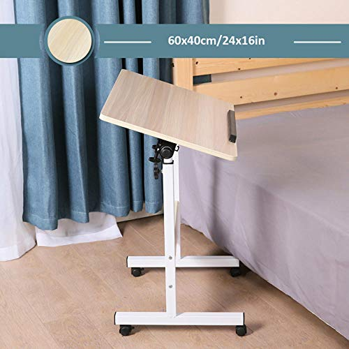 Carbon Steel Sofa Tables with Yellow Density Board,Adjustable height, Lockable Casters, Foldable,Laptop Table for Use with Chairs and Beds in Hospitals