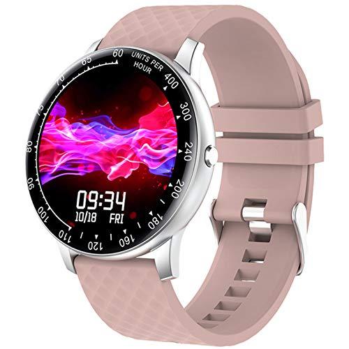 QKA Reloj Inteligente, Nuevo Reloj Inteligente H30 De Pantalla Redonda Femenina De Moda Multicolor, Monitor De Frecuencia Cardíaca, Adecuado para Android E iOS,E