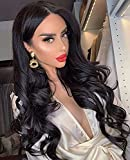 K'ryssma Black Lace Front Wigs for Women 150% Density Body Wave 13x4 Black Wig Long Wavy Synthetic Wig with Middle Parting 22 inches
