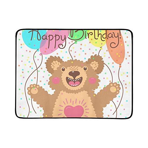 WYYWCY Nette Alles Gute zum Geburtstagkarte-lustiges Bärn-Muster tragbare und Faltbare Deckenmatte 60x78 Zoll-handliche Matte für kampierenden Picknick-Strand