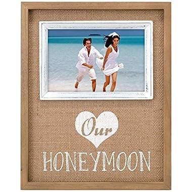 Malden International Designs Burlap Wall Sentiments Silkscreened  Our Honeymoon  Picture Frame, 4x4, Tan