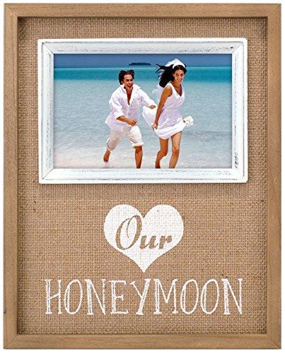 """Malden International Designs Burlap Wall Sentiments Silkscreened """"Our Honeymoon"""" Picture Frame, 4x4, Tan"""