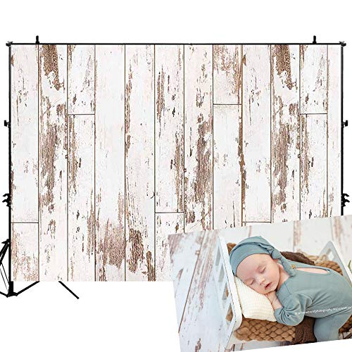 Allenjoy 7x5ft White Wood Backdrop Rustic Wooden Floor Background for Newborn Photography Baby Shower Kids Birthday Cake Smash Photoshoot Photo Background Photographer Props