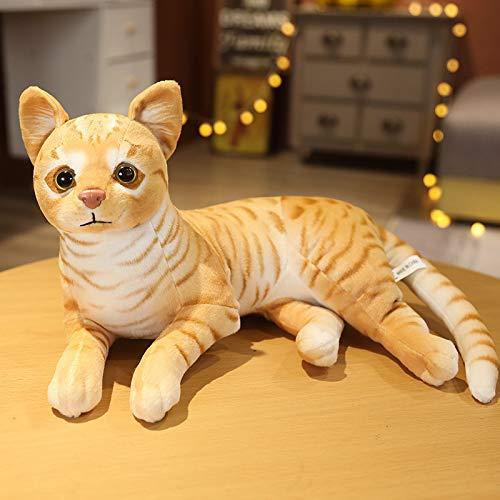 huobeibei Almohada de simulación Gato Juguetes de Peluche Realista Animal Mascota Niños Decoración del hogar Vacaciones 36 CM C