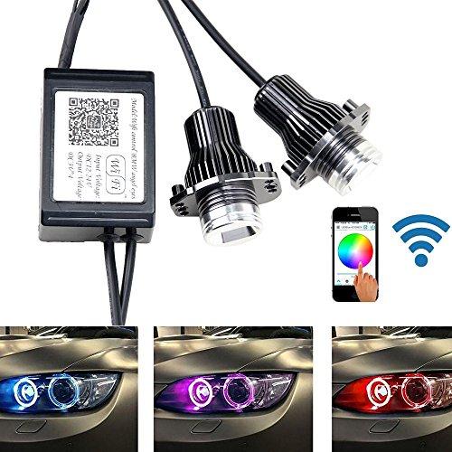 NEWSUN RGB con WiFi LED Angel Eyes de Halo anillo de luz de gálibo LED bombillas para sedán E90E91Wagon 3Series