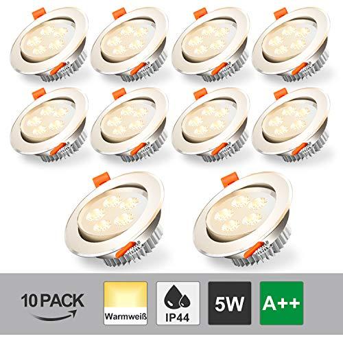 BMOT 10x 5W LED Luz de techo empotrada Blanco cálido 420lm Foco 5W = 40W Bombilla 3200K Downlights para sala de estar Dormitorio Cocina Baño
