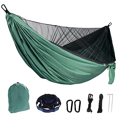 YUYDYU Hamaca de camping con mosquitero, portátil, ligera, para exteriores, con red de insectos, ligera, portátil, para exteriores, aventura, senderismo, viajes, nailon 210T