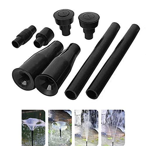 Yohii One Set Plastic Garden Waterfall Fountain Nozzle Head Set 4 Shapes Black