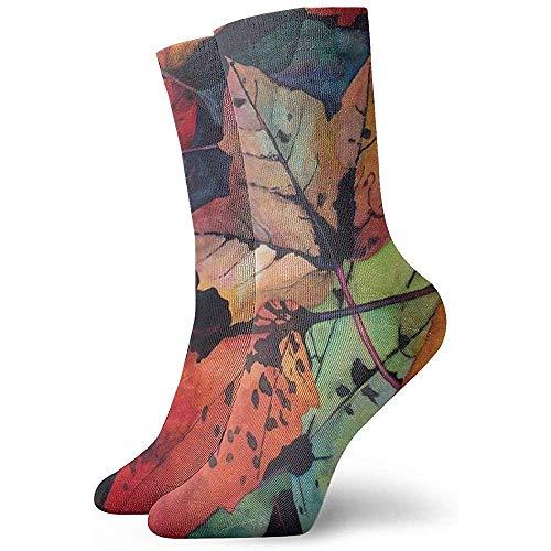 winterwang Calcetines de vestir divertidos unisex - Calcetines coloridos de Funky - Calcetines de arce rojo de otoo