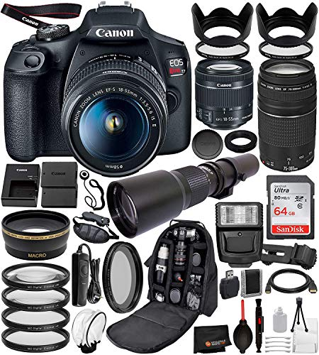 Canon EOS Rebel T7 Digital SLR Camera with EF-S 18-55mm IS II (2727C00 USA), Canon EF 75-300mm Lens and 500mm PRESET Lens with T-Mount Adapter and 22PC Professional Bundle