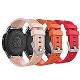 MoKo 22mm Correa para Galaxy Watch 3 45mm/Galaxy Watch 46mm/Gear S3 Frontier/Classic/Huawei Watch GT2 Pro/GT2e/GT 46mm/GT2 46mm/Ticwatch Pro 3,Pulsera de Silicona - Rojo&Rosa Retro Rosa&Naranja