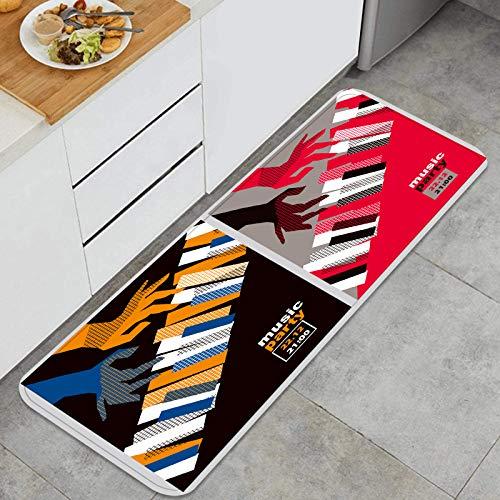 YMWEI Cocina Antideslizante Alfombras de pie Manos, Piano, Teclas, Vector, ilustración, Moderno Decoración de Piso Confortables para el hogar, Fregadero, lavandería-120cm x 45cm