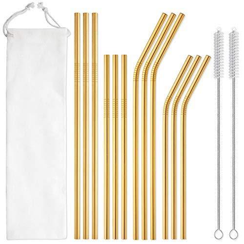 PPuujia Pajitas de acero inoxidable 304 de pajita de metal largo para vasos, vasos, botellas, barras, bebidas, cócteles, pajita ecológica (color: bolsa de oro y blanco)