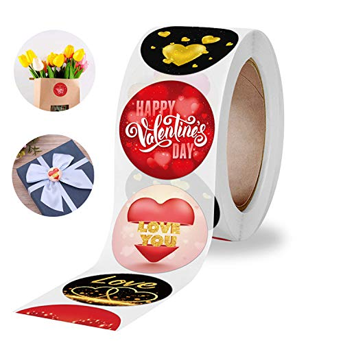 """1"""" Round Valentines Loving Heart Stickers Valentine's Day Love You Label Stickers Strong Adhesive Holiday Gift Dessert Boxes Stickers Cookie Containers Label Stickers 500 Labels Per Roll"""