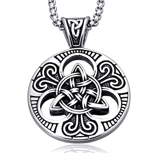 enhong Celtic Knot Necklace for Men,Stainless Steel Magic Double Side Solid Heavy Pendant with Chain 28 inches