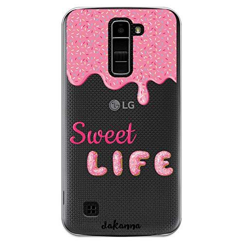 dakanna Funda Compatible con [LG K10 4G] de Silicona Flexible, Dibujo Diseño [Donut glaseado Rosa con Frase Sweet Life], Color [Fondo Transparente] Carcasa Case Cover de Gel TPU para Smartphone