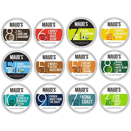 Maud's 12 Flavor Coffee Variety Pack, 136 ct. Recyclable Single Serve Coffee Pods - Richly satisfying arabica beans California Roasted, k-cup compatible including 2.0