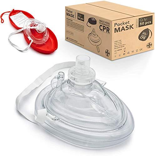 AIESI® Pocket Mask máscara de emergencia profesional para respiración boca a boca con válvula unidireccional y filtro (Paquete de 50 piezas) # CPR Mask-Resuscitator