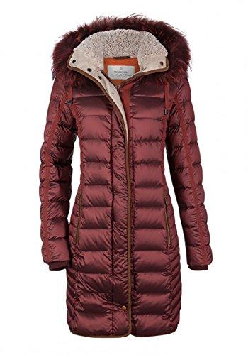 MILESTONE Damen Daunenmantel Winter Mantel Gesteppt Bordeaux Rot Kapuze mit Echtfellbesatz Tailliert Gr. 36-44 (38)