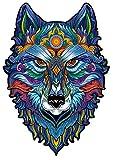 SAKHRI PARIS® - Puzzle in legno con animali colorati - Max il lupo di Paris - Gioco di br...