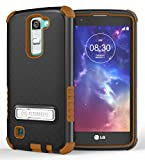 Brown TRI-Shield Rugged CASE Cover with Metal Kickstand + Screen Protector for LG K7 and LG Tribute 5 (LG LS675, LG MS330, Sprint, MetroPCS, Boost Mobile)