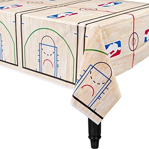 Amscan 573636 Spalding Basketball Collection Printed Plastic Table Cover for Party 54' x 102' 1 ct
