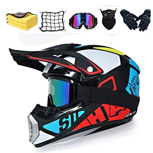 Motocross-Helm, für Erwachsene, Motocross-Helm, Enduro-Helm, Widerstand für ATV Downhill, Kinderhelm, Integralhelm für MTB, Motorradhelm mit Brille (Größe M 56-57)