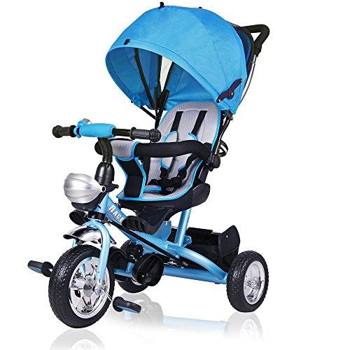Dreirad Kinderdreirad Blau 5-Punkte Gurt abnehmbares Dach Kinderwagen Fahrrad Kinder Buggy