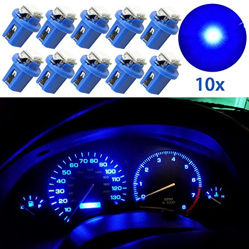 Guage Cluster Speedometer Light Bulbs - 10pcs Blue T5 B8.5D 5050 1SMD Led Dashboard Dash Cluster Speedmeter Instrument Panel LED Light Bulbs Kit 12V