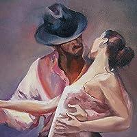 DIYデジタル油絵キャンバス_男性と女性を踊る_大人の染色アートぬりえデジタル油絵セット大人の子供初心者油絵セット_家の装飾とホリデーギフト_30x40cm_フレームレス