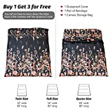 Black Floral Japanese Futon Floor Mattress, Bed Mattress Topper Portable Thick Sleeping Pad Floor Bed Roll Up Camping Mattress Folding Couch Bed Mattress Pad for Guest Room, Queen Size