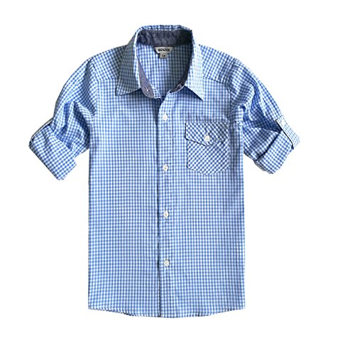 Bienzoe Jungen Baumwolle Plaid Knopf Unten Hemd hellblau Größe 11/12