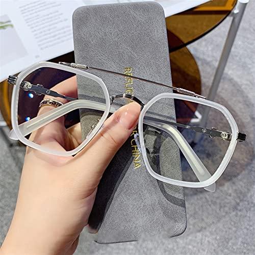Gafas de Lectura, Moda Mujeres Polígonos Anti Blue Light Lightes Clear Metal Frame Myopia Espejo óptico Hombres Espectáculo Gafas Eyeglasses Oculos Feminino (Color : White, Size : +350)